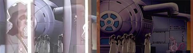 La scena del risveglio di Mewtwo è leggermente diversa nelle due versioni.