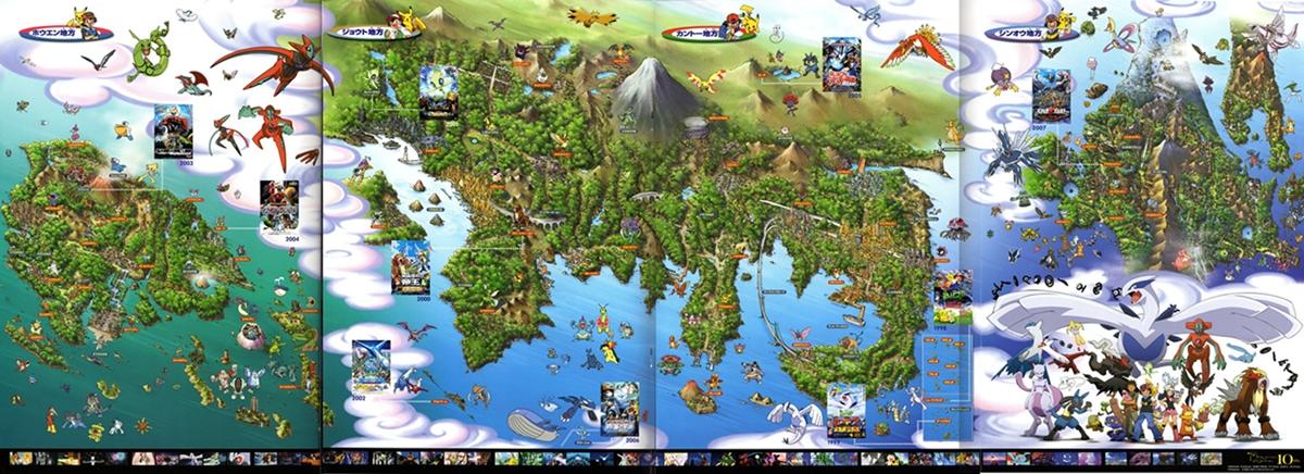 in questa immagine potete vedere dove esattamente si sono svolti gli eventi degli episodi e dei film Pokemon, fino a Diamante e Perla